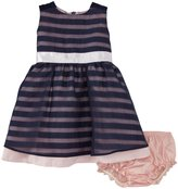Andy & Evan Stripe Organza Party Dress (Baby) - Navy-18-24 Months