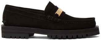 Versace Black Suede Logo Plate Loafers