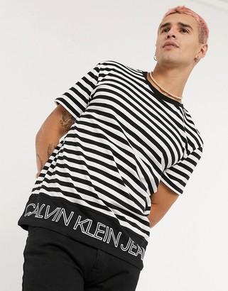 Calvin Klein Jeans outline logo striped t-shirt in black