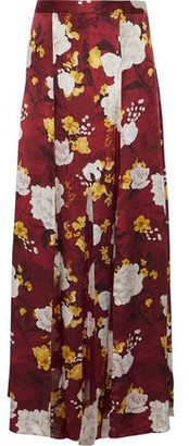 Alice + Olivia Athena Floral-print Chiffon-paneled Hammered-silk Maxi Skirt