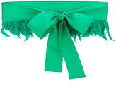 Sara Roka - feather trim bow belt - women - Cotton/Viscose/Feather - M