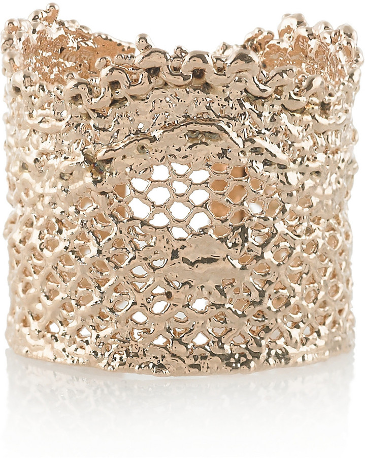Aurelie Bidermann 18-karat rose gold-dipped lace ring