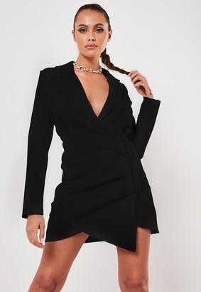 Missguided Black Ruched Side Blazer Dress