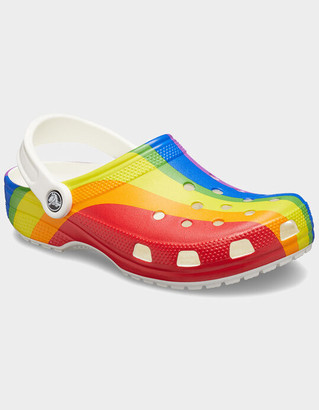 Crocs Classic Unisex Rainbow Stripe Clogs