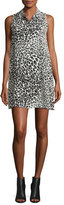 Equipment Mina Sleeveless Cheetah-Print Silk Shirtdress, Nature White/True Black