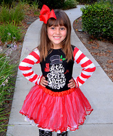 Beary Basics Red & White Stripe 'Let It Snow' Top & Petticoat - Girls