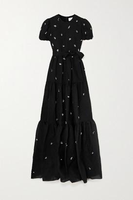 Erdem Embellished Silk-blend Cloque Gown - Black