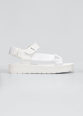 Prada Logo Platform Sport Sandals