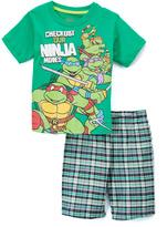 Children's Apparel Network TMNT Green 'Ninja Moves' Tee & Plaid Shorts - Toddler