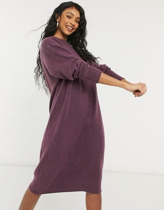 Monki Felia recycled knitted midi dress in lilac