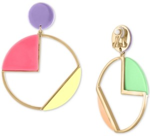Rachel Roy Gold-Tone Multicolor Geometric Circle Drop Clip-On Earrings