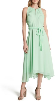 Tahari Sleeveless Tie Waist Chiffon Midi Dress