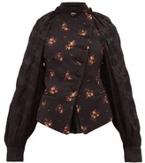 Ann Demeulemeester Panelled Cotton-blend Floral-jacquard Jacket - Womens - Black Multi