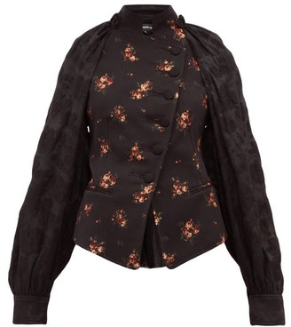 Ann Demeulemeester Panelled Cotton-blend Floral-jacquard Jacket - Black Multi