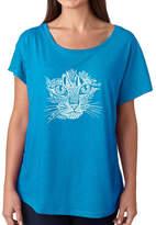 LOS ANGELES POP ART Los Angeles Pop Art Women's Loose Fit Dolman Cut Word Art Shirt - Cat Face