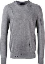 Alexander McQueen distressed crew neck sweater - men - Silk/Wool - M