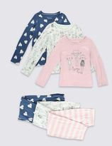 Marks and Spencer 3 Pack Pure Cotton Pyjamas (1-8 Years)