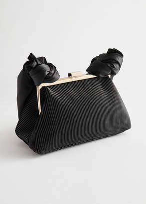 And other stories Pleated Satin Knot Handle Bag