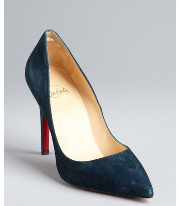 Christian Louboutin dark teal suede 'Pigalle 100' pointed toe pumps