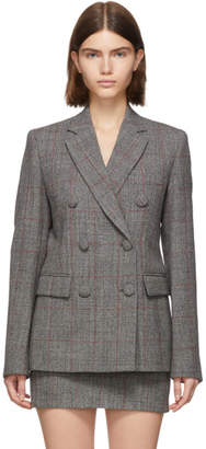 Helmut Lang Grey Wool Prince Of Wales Double-Breasted Blazer