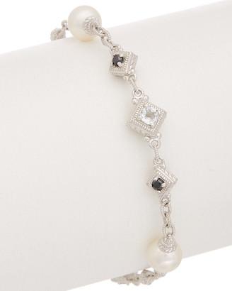 Judith Ripka Renaissance Silver 6.10 Ct. Tw. Gemstone & Pearl Bracelet