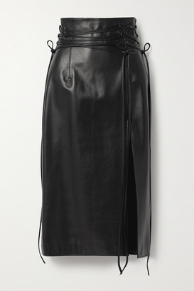 16Arlington Lucerne Leather Midi Skirt - Black