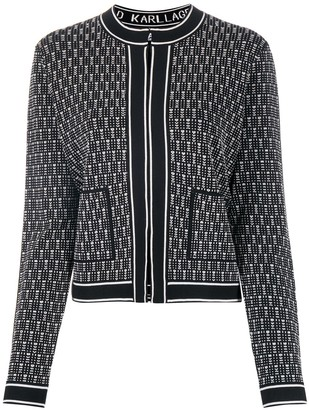 Karl Lagerfeld Paris Fitted Intarsia Knit Jacket