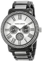 Vince Camuto Women's VC/5001BKTT Swarovski Crystal Accented Black Ion-Plated Silver-Tone Multi-Function Bracelet Watch