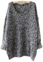 Aecibzo Women's Fashion Oversized Crew Neck Knit Sweater Loose Pullover Cardigan