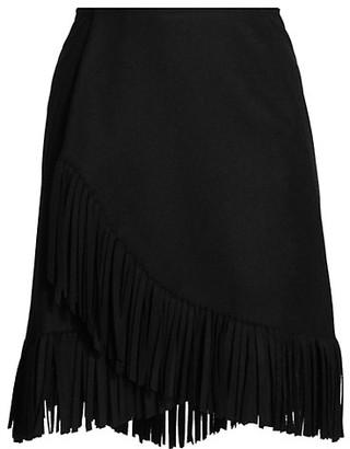 Alaia Wool & Cashmere Fringe Wrap Skirt