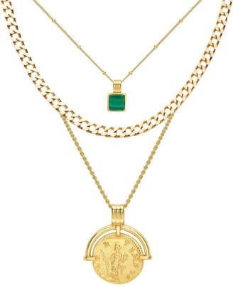 Missoma Roman Coin Malachite Necklace Set