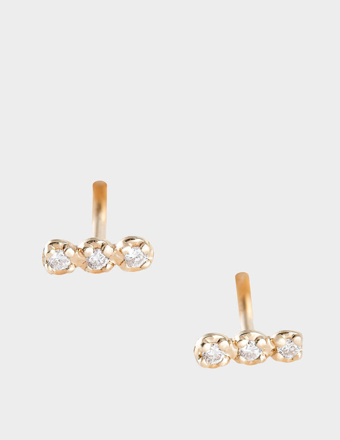 ginette_ny Diamond Strip 18-karat rose gold studs