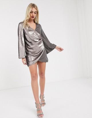 ASOS DESIGN sequin and velvet slouchy mini shift dress