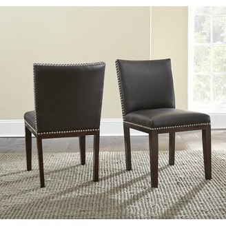 Red Barrel Studio Bonded Leather Upholstered Dining Chair (Set of 2 Side Chair Upholstery: Grey