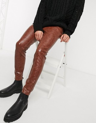 Asos DESIGN skinny ankle grazer jeans in leather look crocodile
