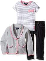 U.S. Polo Assn. Little Girls' French Terry Blazer, Striped T-Shirt and Stretch Denim Jean