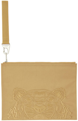 Kenzo Beige Large Kampus Tiger Pouch