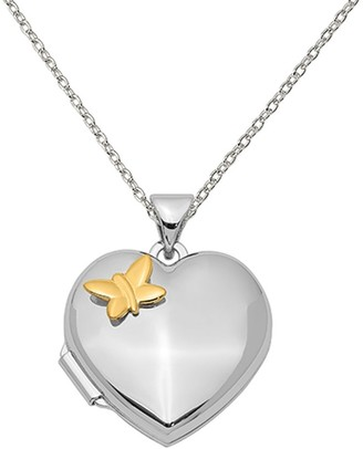 Sterling Silver Rhodium-plated Heart with Gold-plating Butterfly Locket with 18-inch Cable Chain by Versil