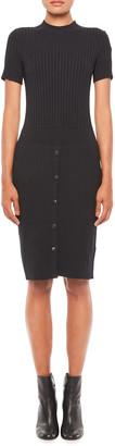 Emporio Armani Short Sleeve Rib-Knit Dress w/ Snap Buttons