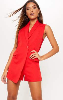 PrettyLittleThing Red Lace Detail Waistcoat Playsuit