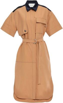 Cédric Charlier Belted Cotton-poplin Shirt Dress
