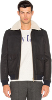 Scotch & Soda Leather Bomber Jacket with Faux Sherpa Lining