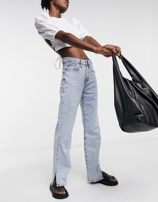 WÅVEN straight leg jeans with side slit in vintage light blue