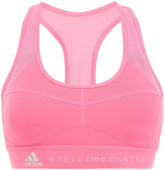 adidas by Stella McCartney Mesh-paneled Printed Neon Stretch Sports Bra
