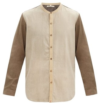 11.11 / Eleven Eleven - Stand-collar Colour-block Cotton Shirt - Beige Multi