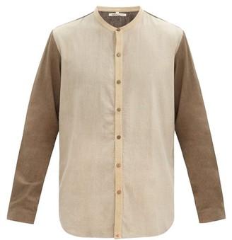 11.11 / Eleven Eleven - Stand-collar Colour-block Cotton Shirt - Beige Multi