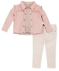 7 For All Mankind Girls' Ruffled Denim Jacket, Tee & Jeans Set - Baby
