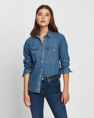 Levi's Women's Blue Shirts & Blouses - Essential Western Shirt - Size S at The Iconic