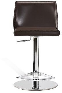 Interlude Nora Swivel Adjustable Height Bar Stool Upholstery: Wenge