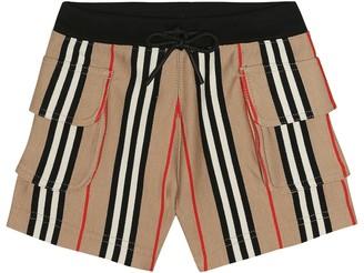 BURBERRY KIDS Ines Icon Stripe cotton shorts